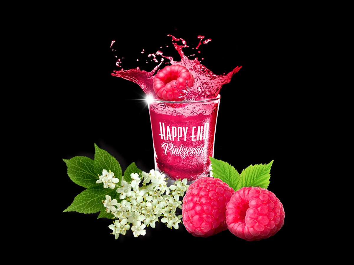 Happy End Pinkzessin Shot Himbeeren Holunderbluete